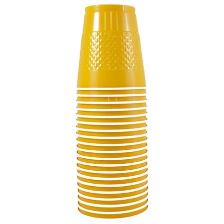 JAM Paper Bulk Plastic Cups, 12 oz, Yellow, 200 Cups/Box