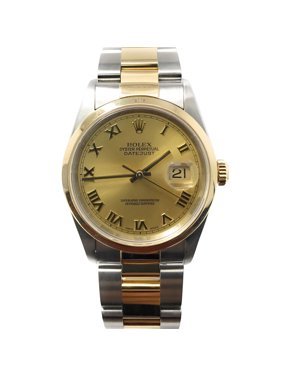 Rolex Datejust 16203 Champagne Roman dial and an 18kt Yellow Gold Smooth Bezel (Certified Pre-Owned)