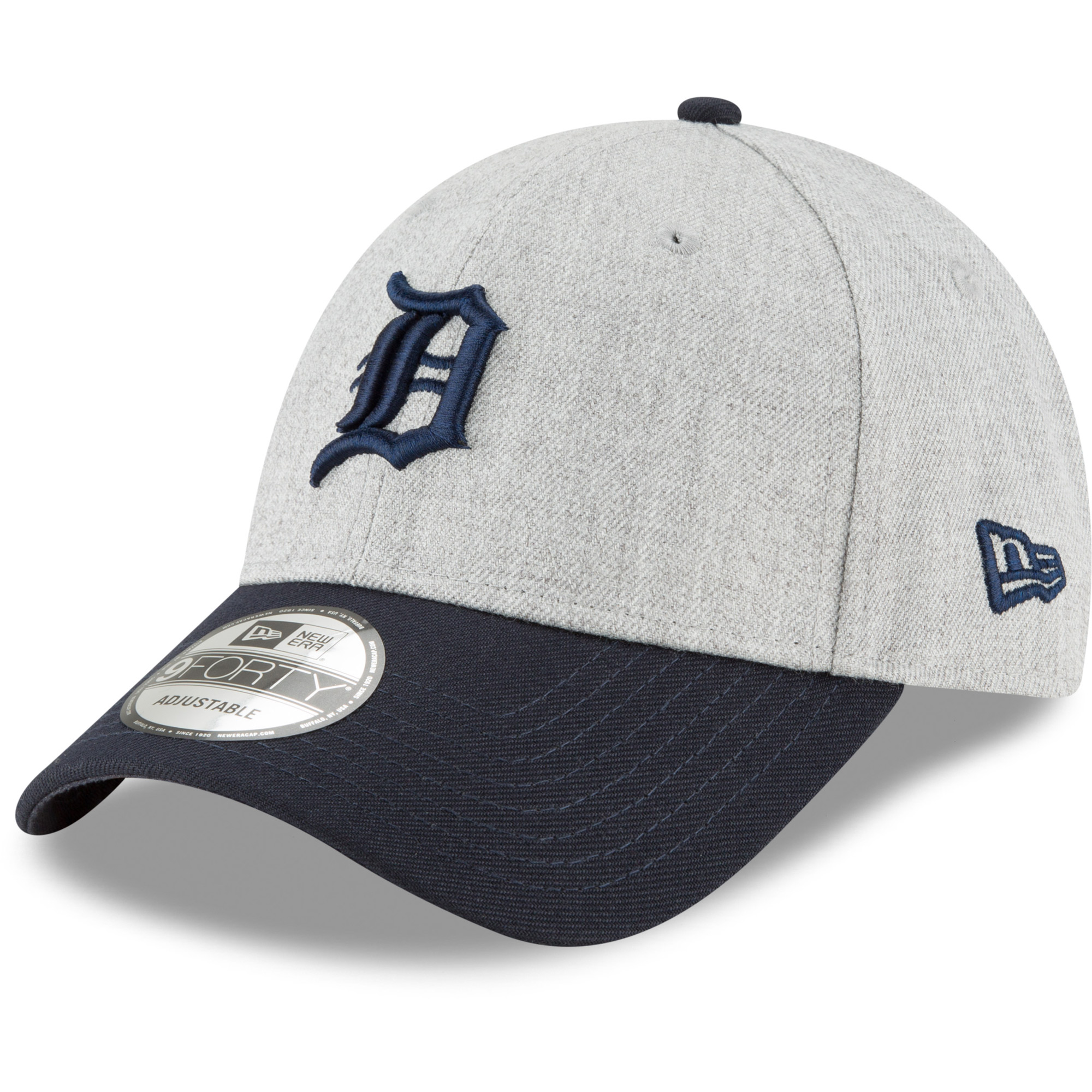 Detroit Tigers New Era 9FORTY The League Adjustable Hat - Heathered Gray/Navy - OSFA