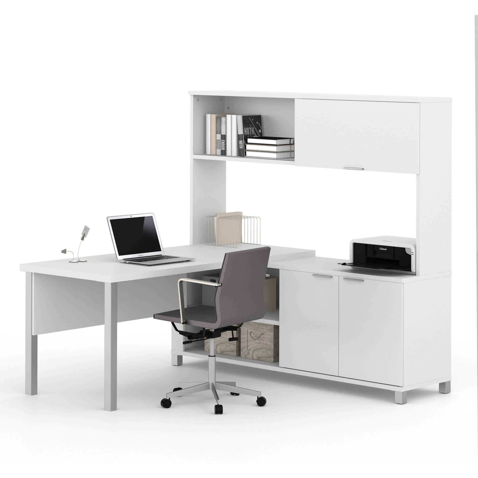 Bestar Pro-Linea L-Desk with Hutch, White