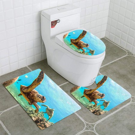 PUDMAD Hawaiian Green Sea Turtle 3 Piece Bathroom Rugs Set Bath Rug Contour Mat and Toilet Lid Cover ()