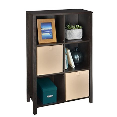 38.3'' Adjustable Cube Storage Organizer Vertical Unit (Black Walnut)