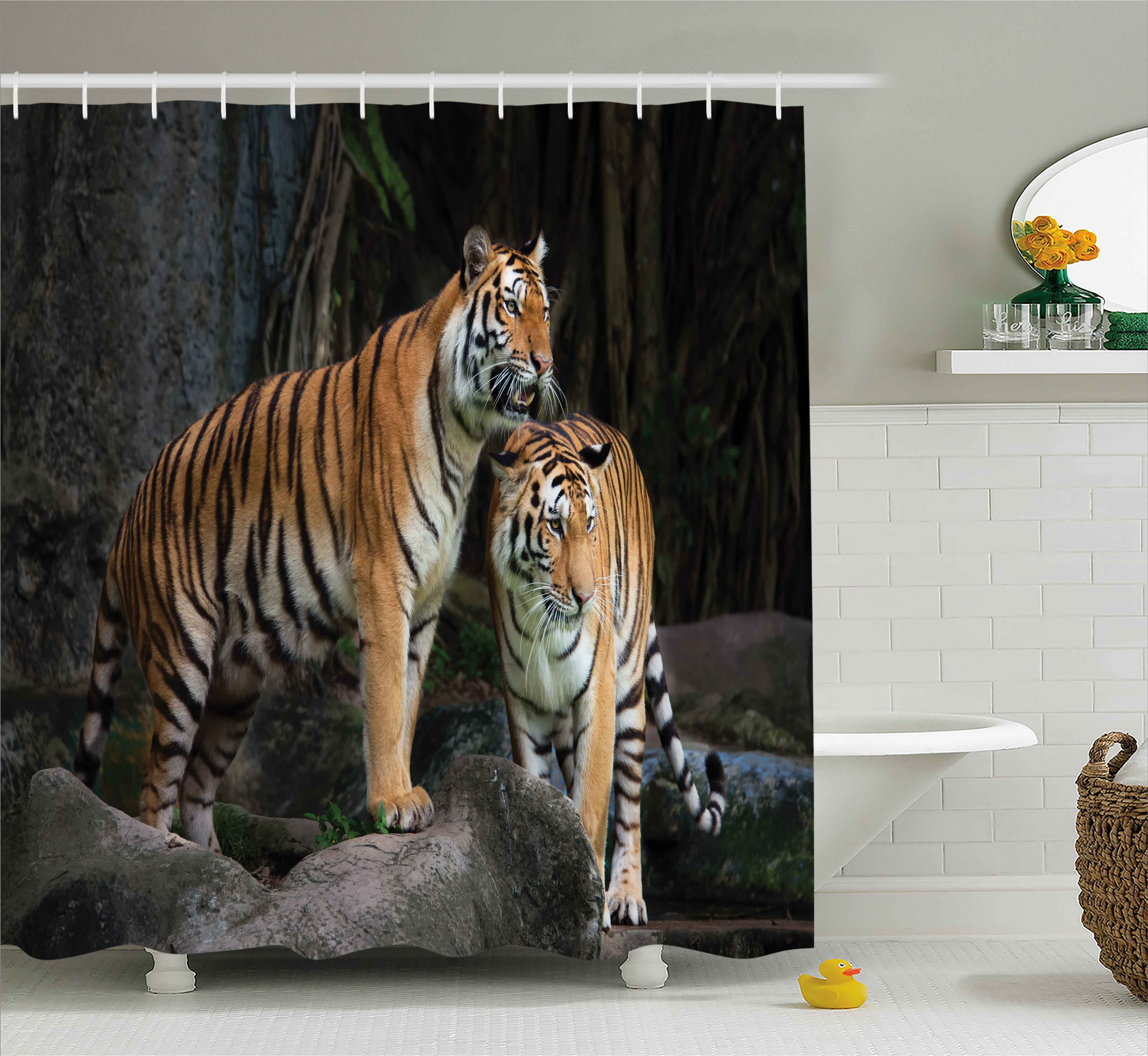 Animal Decor Shower Curtain, Tiger Couple In The Jungle On Big Rocks Image  Wild Cats