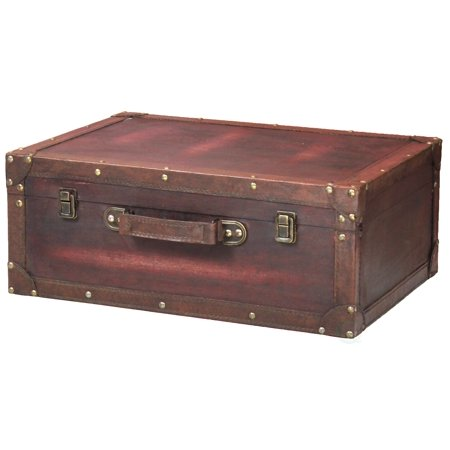 Vintage Style Brown Wooden Suitcase with Leather Trim