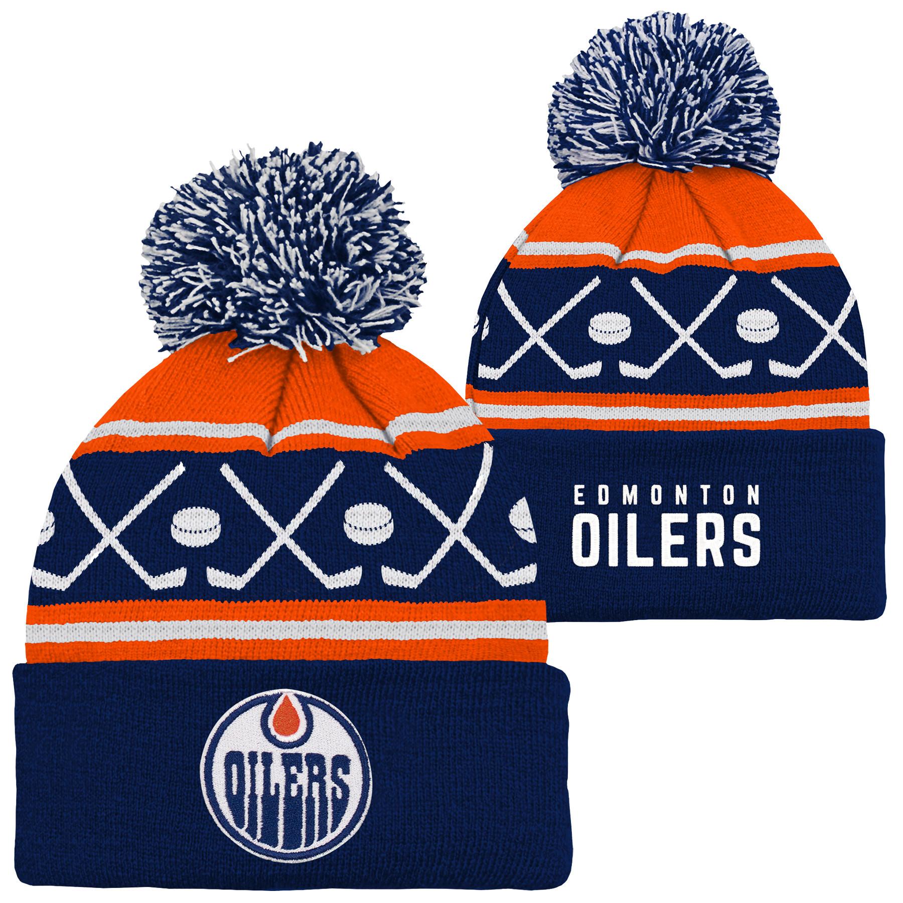 Outerstuff Youth Edmonton Oilers NHL Hockey Pom Pom Cuffed Knit Toque - image 1 de 1