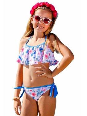 Sun Emporium Girls Ocean Blue Floral Print Criss Cross 2 Pcs Swimsuit