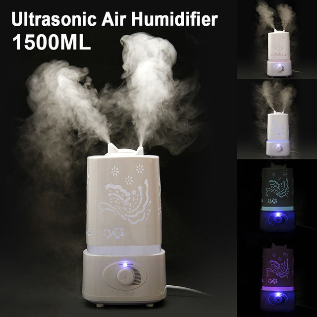 1.5L Ultrasonic Humidifier Air Diffuser Mist Adjust LED Night Light Humidifier Air Diffuser Purifier Lonizer Atomizer... by
