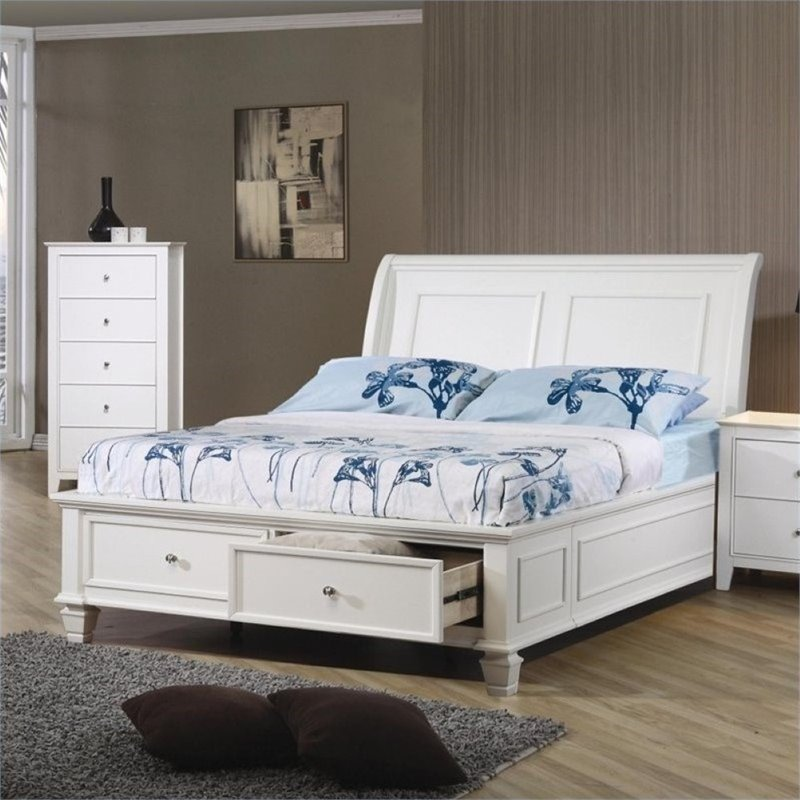 Bowery Hill Full Sleigh Bed in White