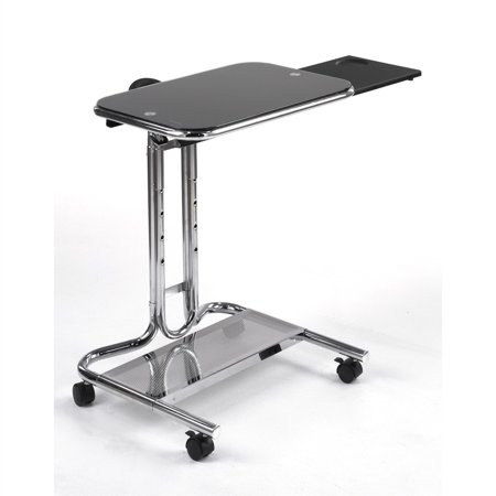 Clear Glass Top Mobile Laptop Computer Cart Desk with Mouse Pad This Clear Glass Top Mobile Laptop Computer Cart Desk with Mouse Pad would be a great addition to your home. Also, it is made of tempered safety glass and has a chrome finish...