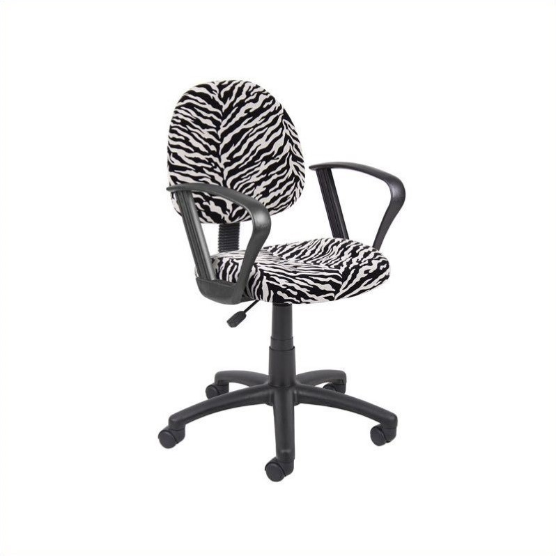 Boss Office Products Microfiber Deluxe Posture Chair In Zebra Print