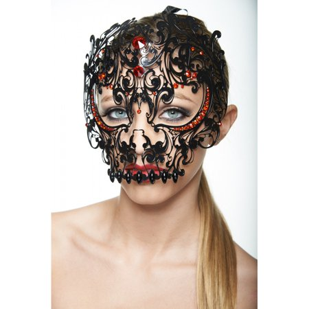 Handcrafted Dia de los Muertos Sugar Skull Phantom Mask, Day of the Dead Mask - (Women's Dia De Los Muertos Mask)