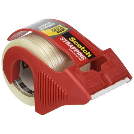 Reinforced Strapping Tape - Scotch MMM50 Reinforced Strength Shipping and Strapping Tape in Dispenser, Red - 1