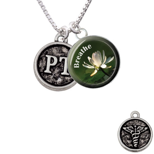 """Physical Therapist Caduceus Seal - PT Breathe with Flower Glass Dome Necklace, 18""""+2"""""""