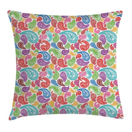 Paisley Decor Throw Pillow Cushion Cover, Modern Teardrop Shaped Striped Oriental Pattern with Flowers and Leaves, Decorative Square Accent Pillow Case, 24 X 24 Inches, Multi Colored, by Ambesonne ()