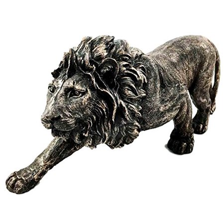The King of The Jungle Bronzed Aslan Lion Figurine Battle Attacking Stance