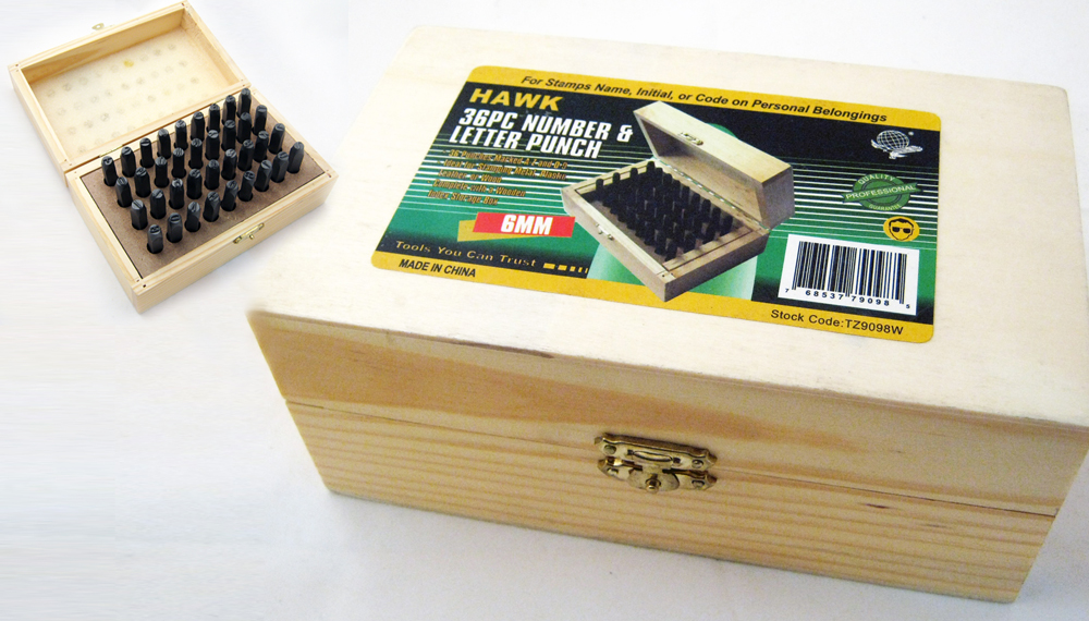 36 PC Number Letter Punch 6MM Set Stamp Metal Steel Stamping Kit Wood Tool Case by HAWK IMPORTERS