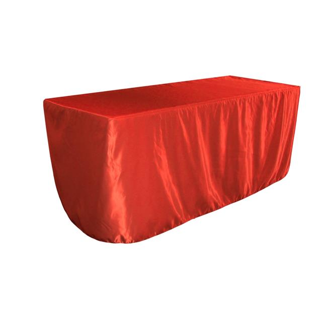 LA Linen TCbridal-fit-72x30x30-RedB98 Fitted Bridal Satin Tablecloth, Red 72 x 30 x 30 in. by LA Linen