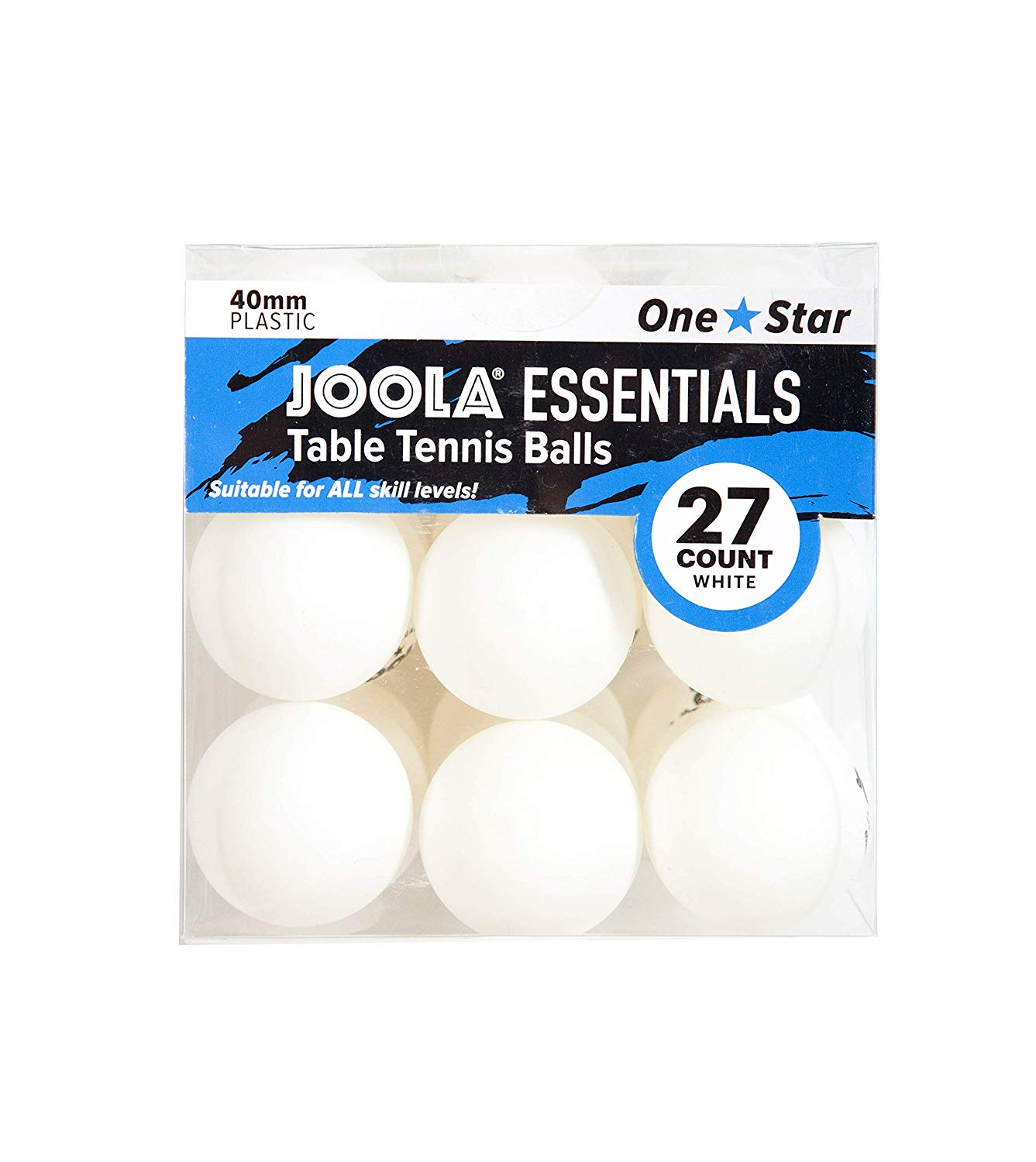 JOOLA Essentials 40mm Table Tennis Balls, White, 27ct