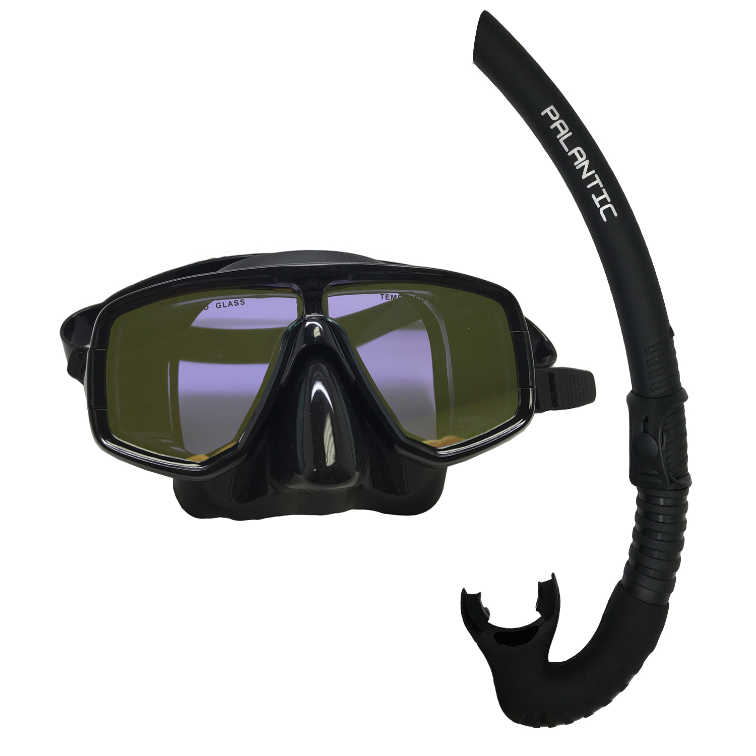 Scuba Choice Dive Mask With Yellow Mirror Coated Lense + Black Snorkel Combo by Scuba Choice