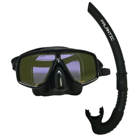 - Scuba Choice Dive Mask With Yellow Mirror Coated Lense + Black Snorkel Combo