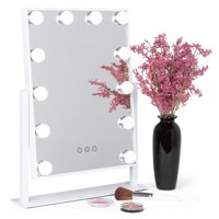 Best Choice Products Hollywood Makeup Vanity Mirror w/ Smart Touch, Adjustable Color Temp & Brightness, 12 LEDs - White