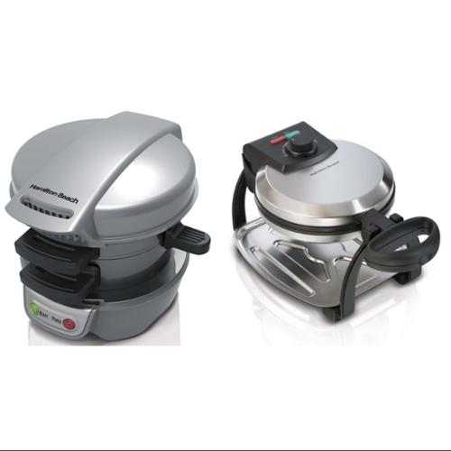 Hamilton Beach Breakfast Sandwich & Belgian Waffle Maker 25475 + 26010 Combo Kit