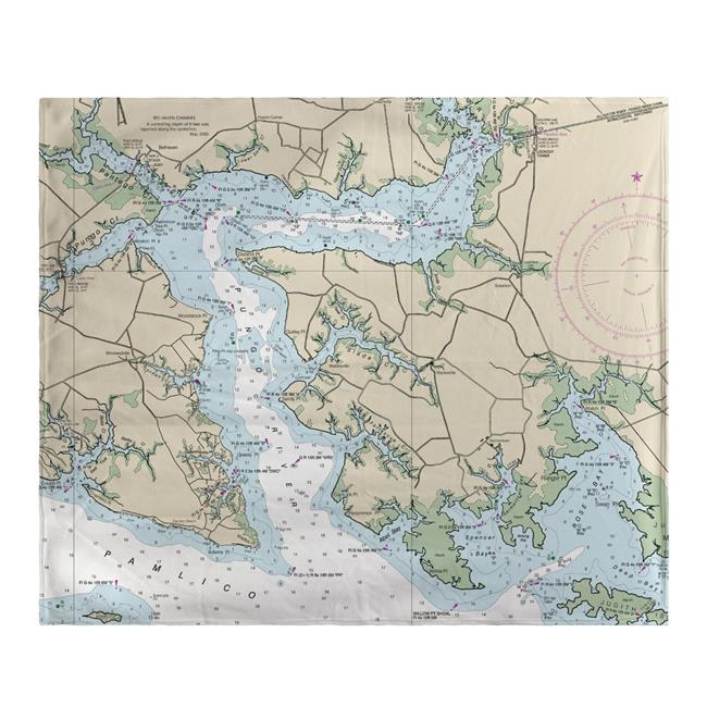 Betsy Drake BK11548PR 50 x 60 in. Pungo River, NC Nautical Map Fleece Throw