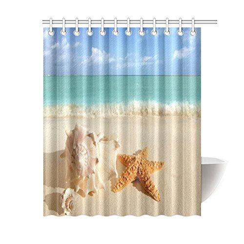 Mypop Summer Vacation Travel Ocean Beach Home Decor Seashell Conch Starfish On Tropical Beach Polyester Fabric Shower Curtain Water Proof Bathroom Sets 60 X 72 Inches Soft Sand Blue Walmart Com Walmart Com
