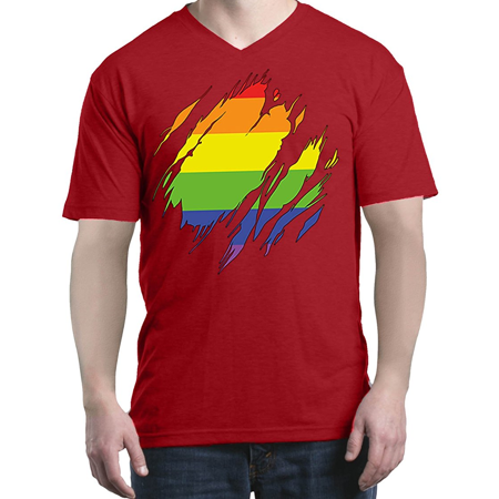 13384653b84b7c Mom s Favorite - Ripped Rainbow Flag Men s V-Neck T-shirt Gay Pride ...