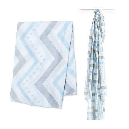 Walmart Swaddle Blankets Delectable Lulujo Bamboo Muslin Swaddle Blanket Blue Chevron Walmart