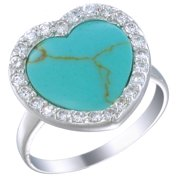 Sterling Silver Imitated Blue Turquoise Ring (15 MM Heart Shaped)