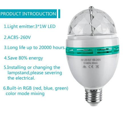 LED Full Color Rotating Disco Light Lamp Multi Change 3W Party Bulb E27 Base - image 5 de 7