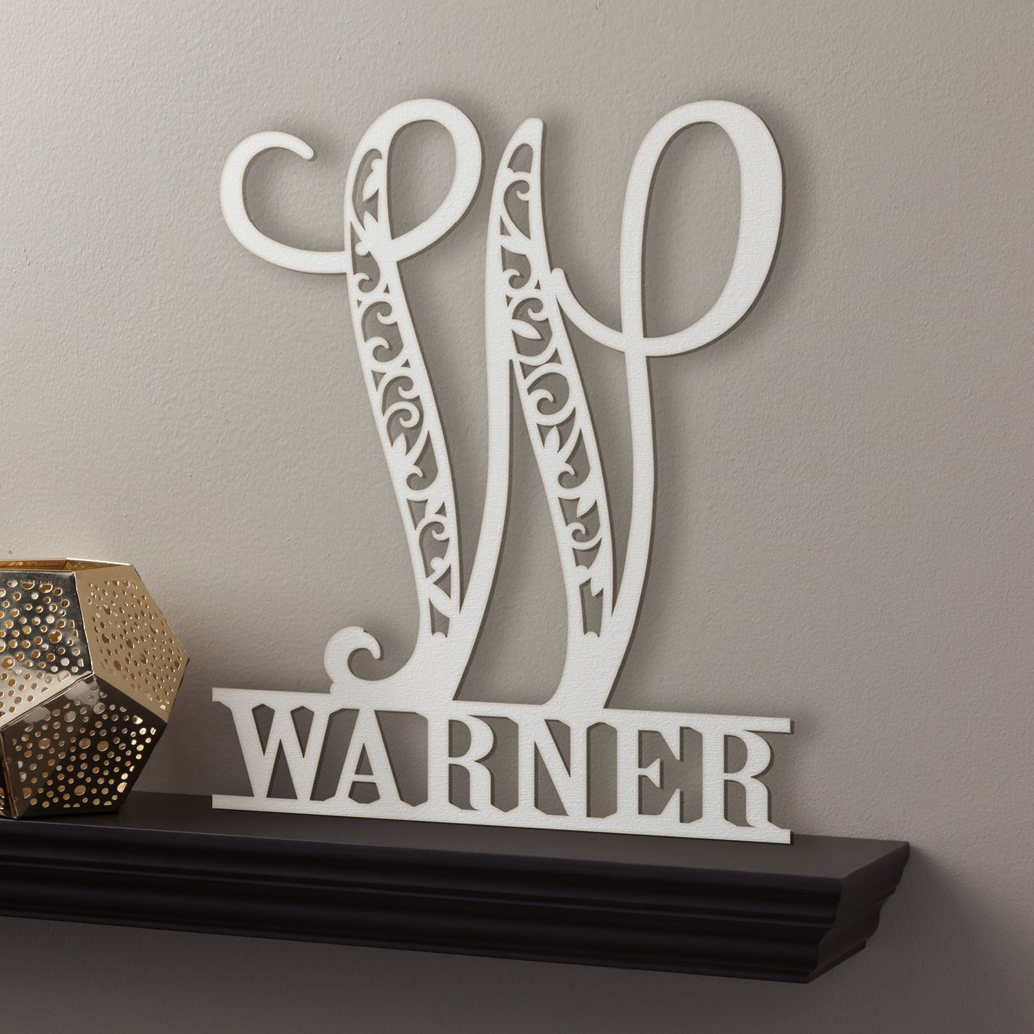 Personalized Family Name Antique White Wood Plaque