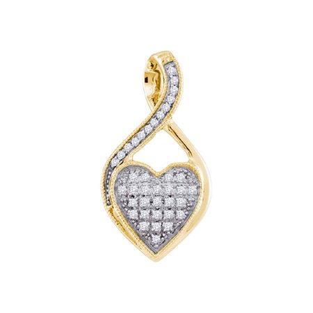 10kt Yellow Gold Womens Round Diamond Twist Heart Cluster Pendant 1/10 Cttw - image 1 of 1