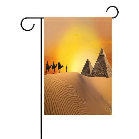 POPCreation Pyramid Camel Garden Flag Orange Sunset Outdoor Flag Home Party 28x40 - Camel Flag