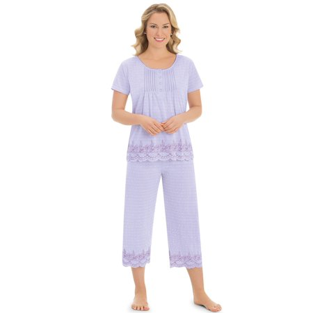 Women's Embroidered Border Pajama Set, Large, (Embroidered Pajamas)