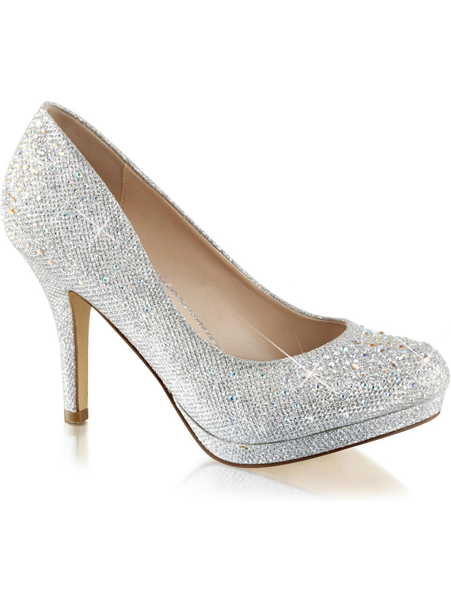 6c0df991672 SummitFashions - Womens Silver Rhinestone Shoes Glitter Pumps Sparkly High  Heels 3 1 2 Inch Heel - Walmart.com