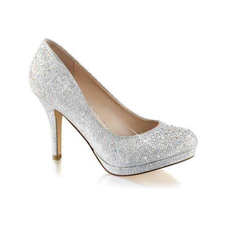 Womens Silver Rhinestone Shoes Glitter Pumps Sparkly High Heels 3 1/2 Inch Heel