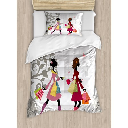 Teen Room Duvet Cover Set, Retro Fashion Women Shopping in City Streets Beauty Butterfly Urban Life Graphic, Decorative Bedding Set with Pillow Shams, Multicolor, by Ambesonne