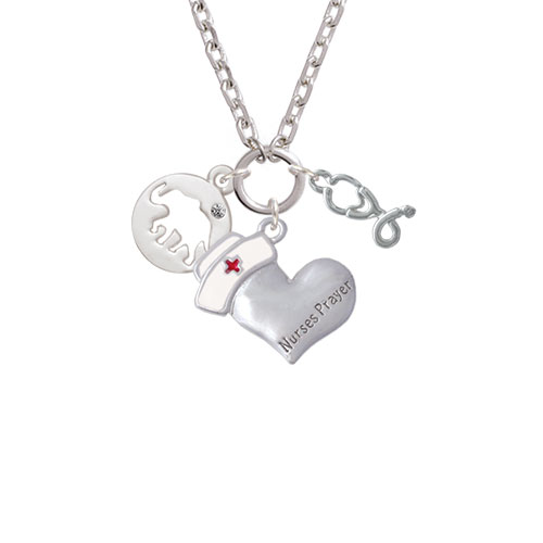 Elephant Silhouette Nurse's Prayer Heart and Stethoscope Zoe Necklace