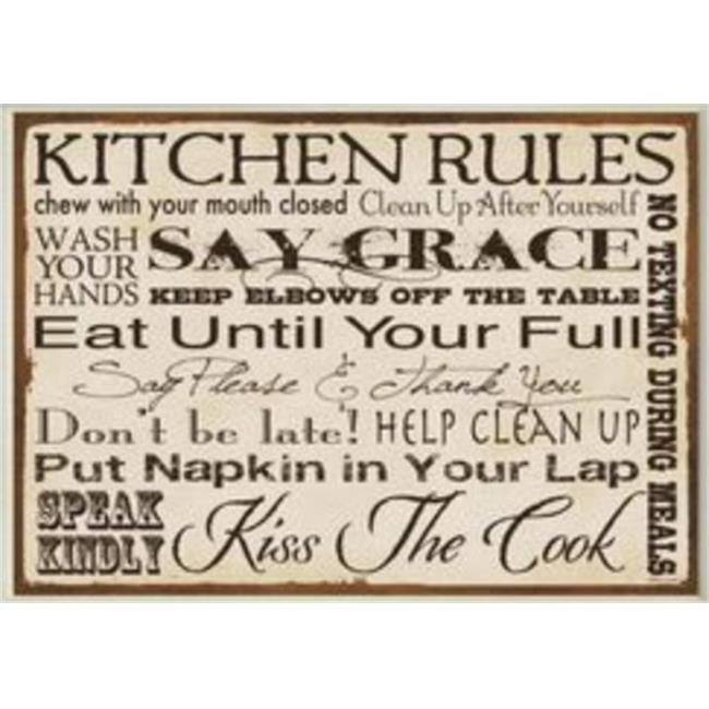 Stupell Industries KWP-951 Kitchen Rules Typography Rect Wall Plaque