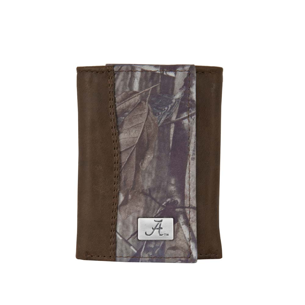 Eagle Wings Alabama Leather / Camo Trifold Wallet