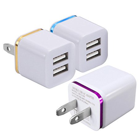 2-Port 2.1A USB Wall Charger [3-PACK] ML Dual Portable Travel Power Adapter Compatible for Apple iPhone X 8/7/6 Plus SE/5S/4S,iPad, iPod,Samsung Galaxy S7 S6, HTC, LG, Table, Motorola And More - Ipod Travel Pda