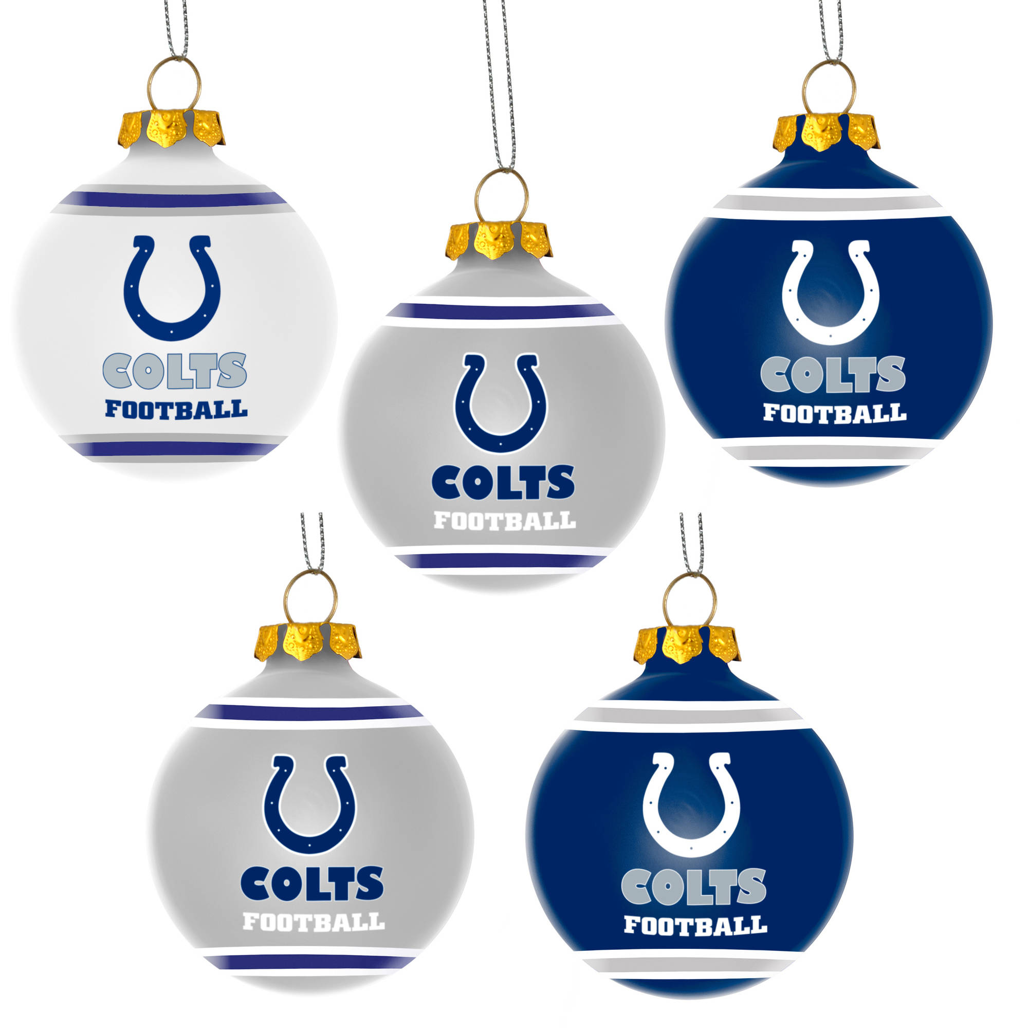 Forever Collectibles NFL 5-Pack Shatterproof Ball Ornaments, Indianapolis Colts