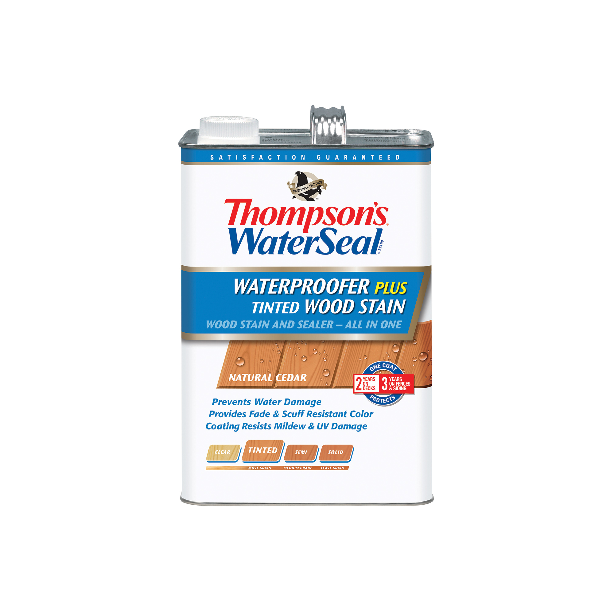Thompson's WaterSeal Waterproofer Plus Tinted Wood Stain, Natural Cedar, 1-Gal