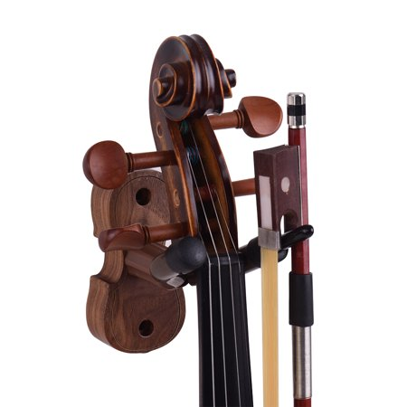 Wall Mount Violin Fiddle Viola Hanger Hook Keeper with Bow Holder Rubber Cushion Wood Base - image 2 of 4