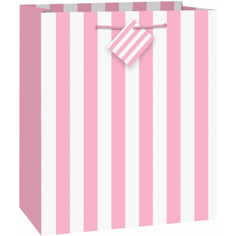 Large Light Pink Striped Gift Bag - Walmart.com