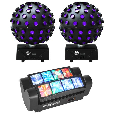 (2) American DJ ADJ Starburst Sphere Shooting Beam Lighting Effects+SPYDER LED American Dj Intelligent Light