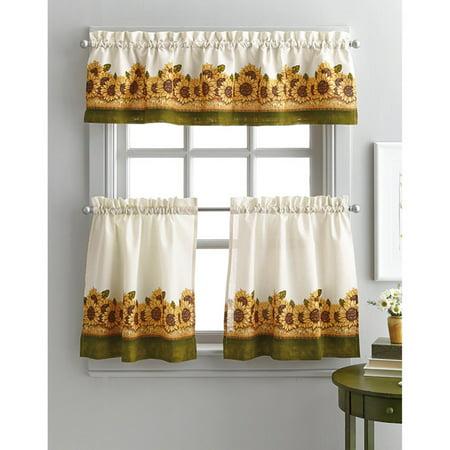 Sunflower Curtain (Curtainworks Sunflower Garden 36 in. Curtain Tier Set )