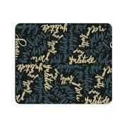 OTM Prints Black Mouse Pad, Holiday Wishes Gold